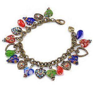 Sweet Romance Candy Glass Hearts Charm Bracelet